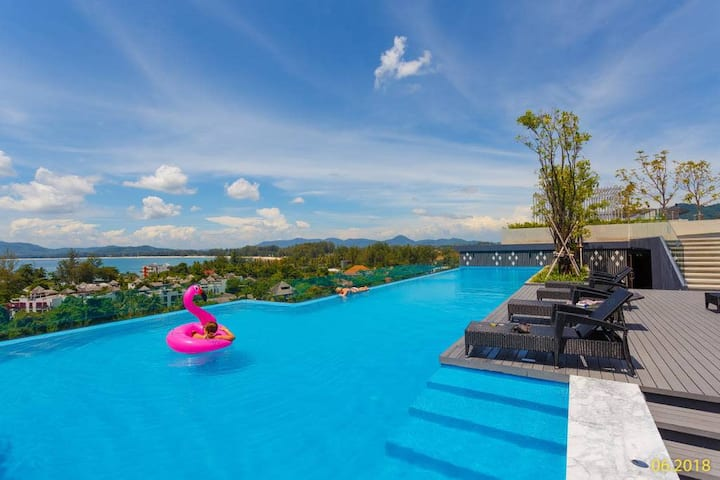 Studio style apartment, Pool on the roof! ❤️ 400m to the Surin beach! (413)