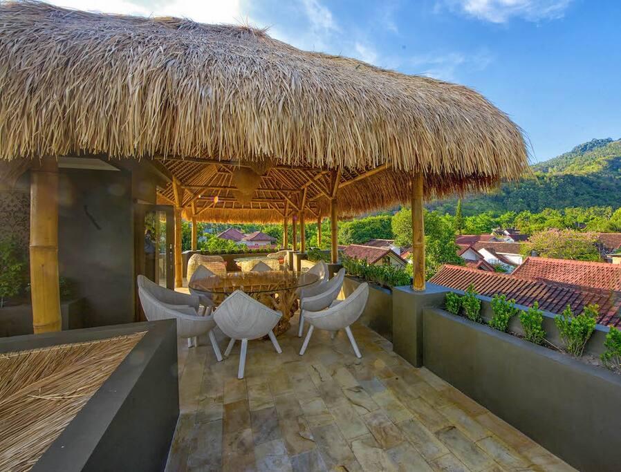 Rooftop garden dining area