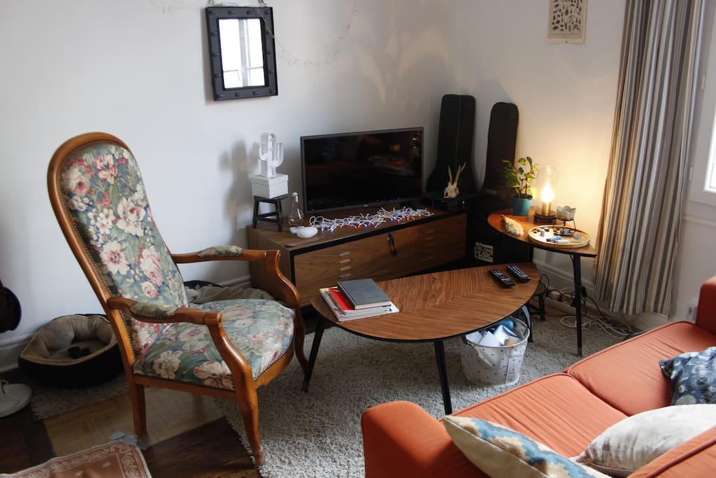 Le coin salon avec canapé 2 places, fauteuil, télé et wifi.