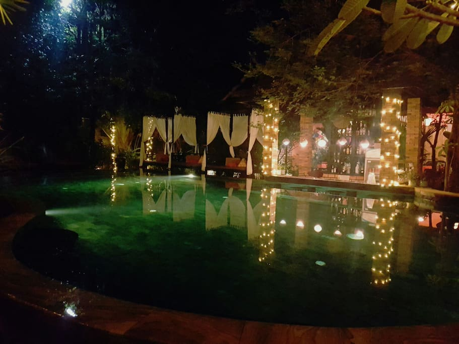 Night view at pool bar