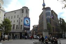 Seven Dials Monument and Cambridge Theatre Covent Garden