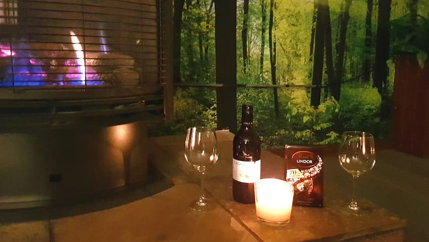 FIRE - WINE - CANDLES - CHOCOLATES