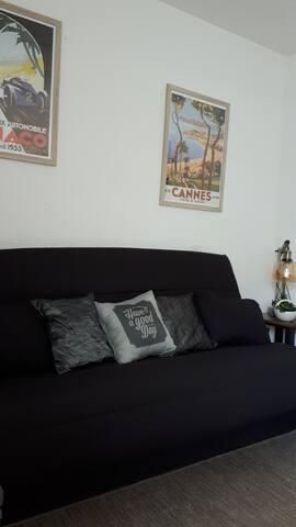 Salon avec coin nuit (canapé lit 2 places matelas bultex)