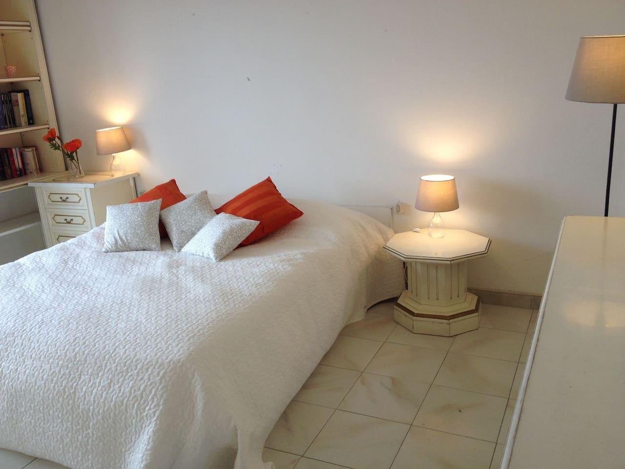 Une grande Chambre lumineuse avec grand lit queen size et balcon