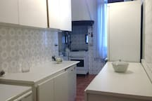 Equipped kitchen of the flat (floor has changed into parquet)