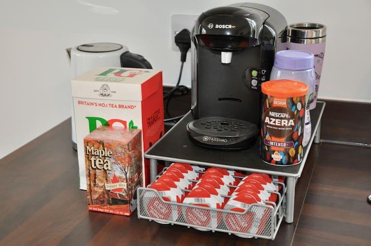 Please help yourself to tea, coffee or hot chocolate!
