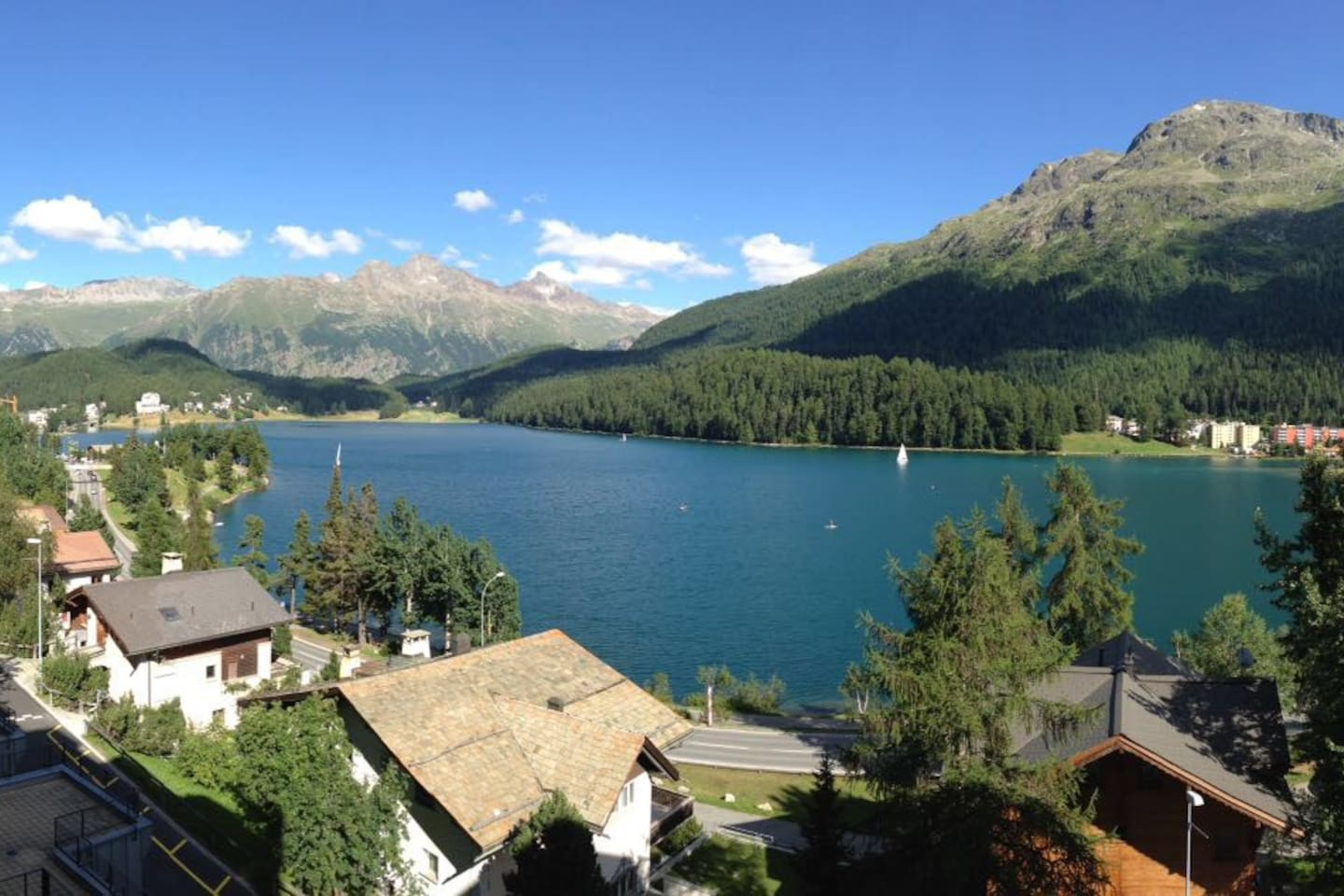 View of St Moritz's lake from the balcony