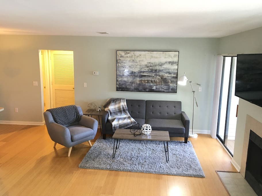 """Bright Living Room with 48"""" Smart TV that swivels."""