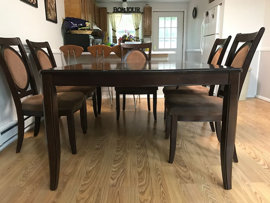 Large extended dining table