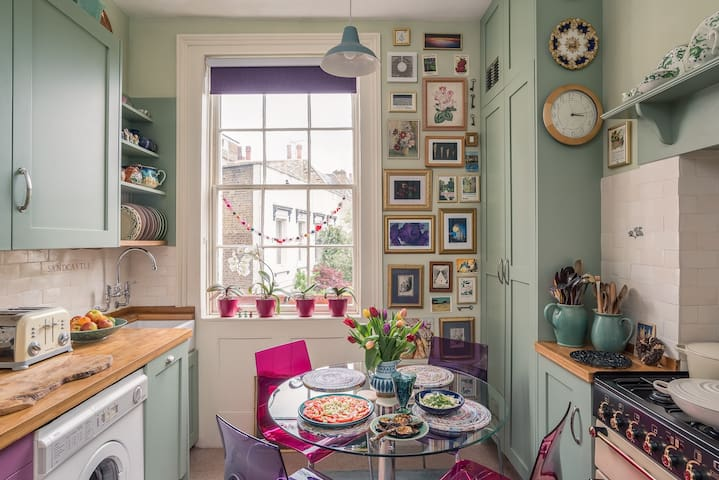 Here is my small gorgeous kitchen. It can seat 4 people but it is very tight.