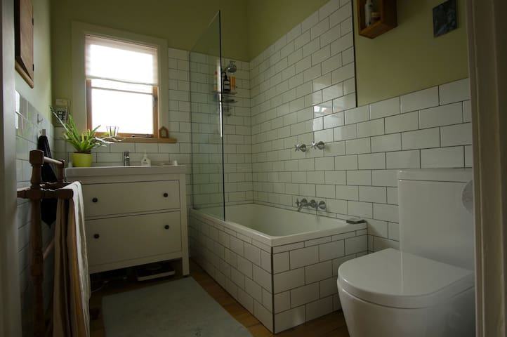The guest bathroom. As there is a 2nd toilet we only go in there to shower once per day. So from 7pm - 8am this will be your private space.