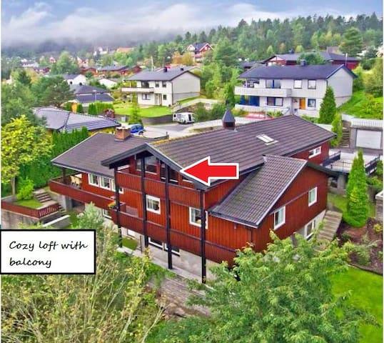 Loft med balkon og fin fjordutsikt