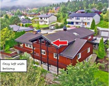 Loft med balkon og fin fjordutsikt - Loft