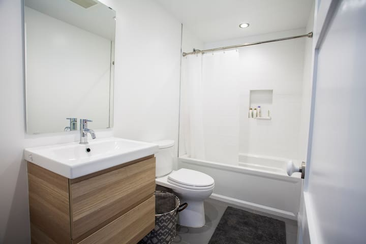 All new bathroom with shower/tub
