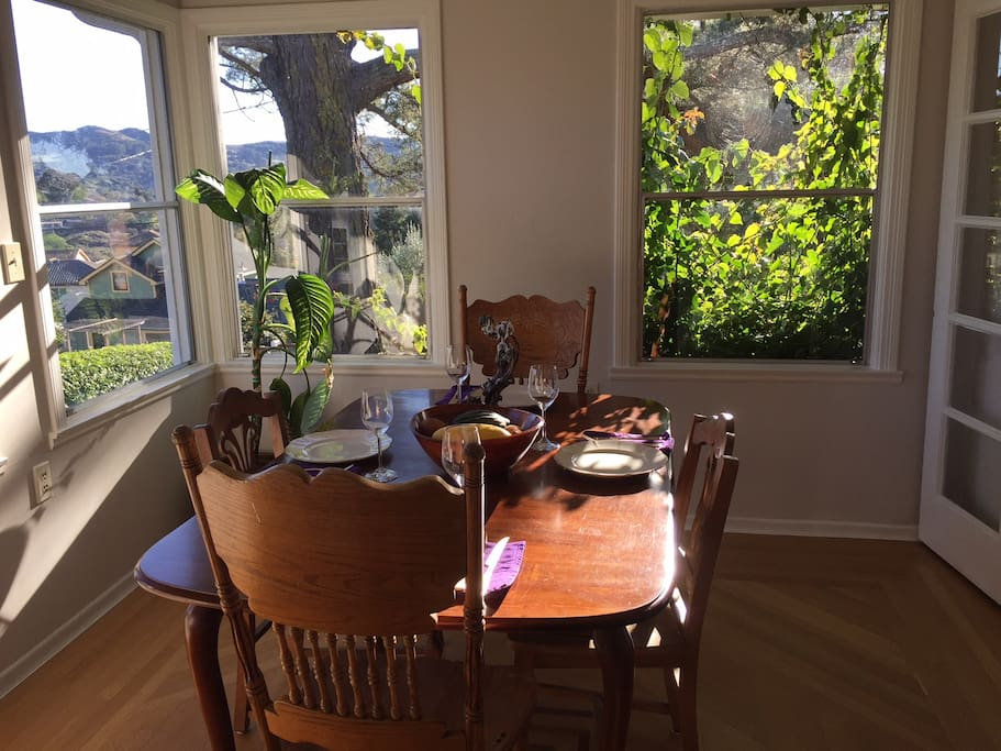 Morning sun streams into the dining room