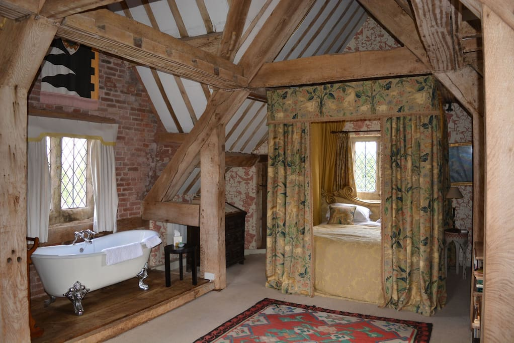 Second floor: The Prince Rupert Suite, with a 6' four poster canopy bed