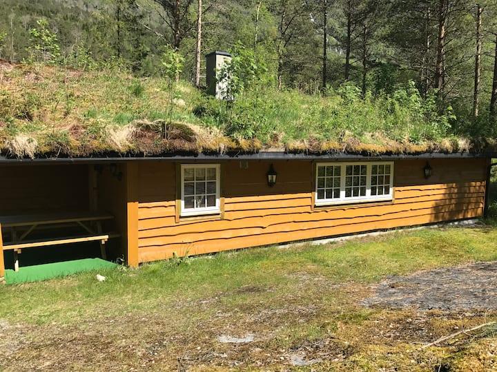 Koselig tømmerhytte i naturskjønne omgivelser