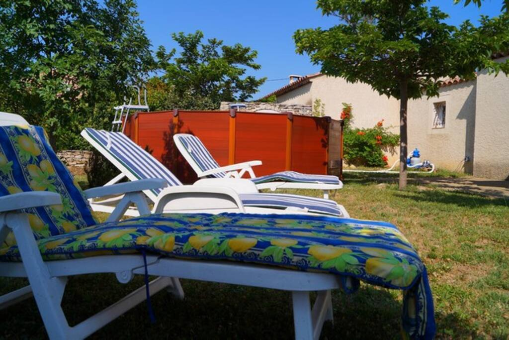 jardin, piscine et transats