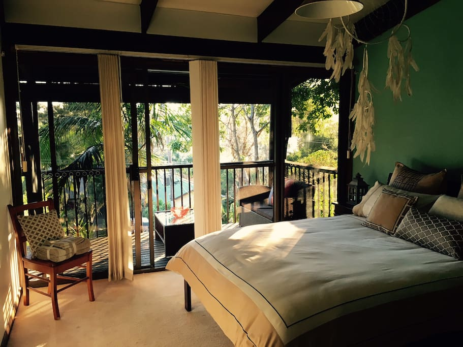 Main bedroom, walk on to balcony, views of the lake
