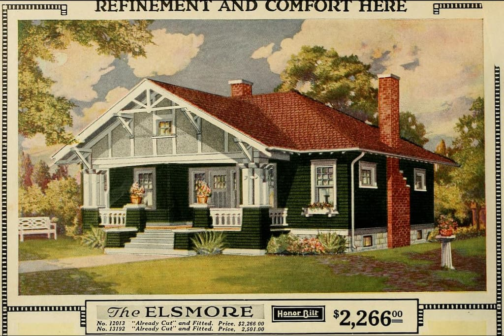 """""""Refinement and Comfort Here"""" - the original Sears advertisement. A full poster version is framed on the mantel."""