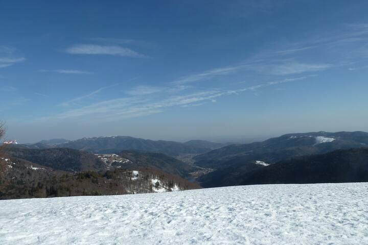 La vallée de la Doller vue du sommet du ballon d'Alsace (à 20km de la campagnarde)