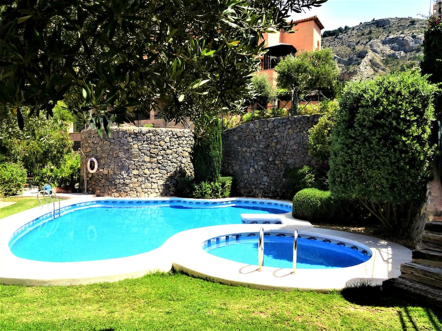 Main communal pool with kiddy pool