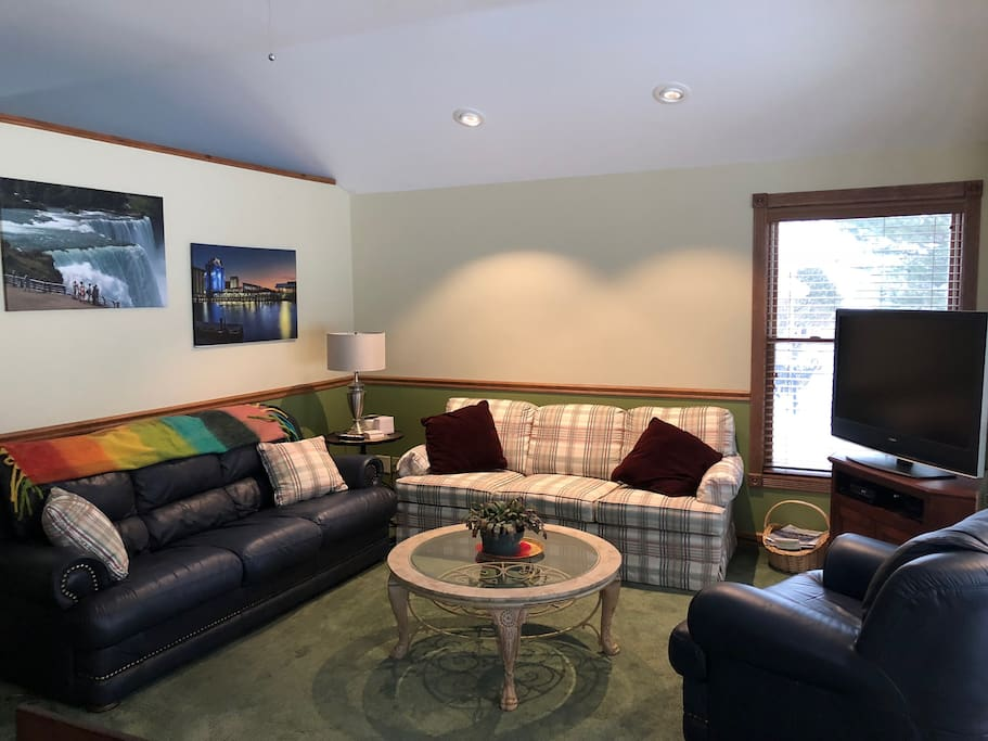 Spacious living room - plaid couch is a pull out double bed.