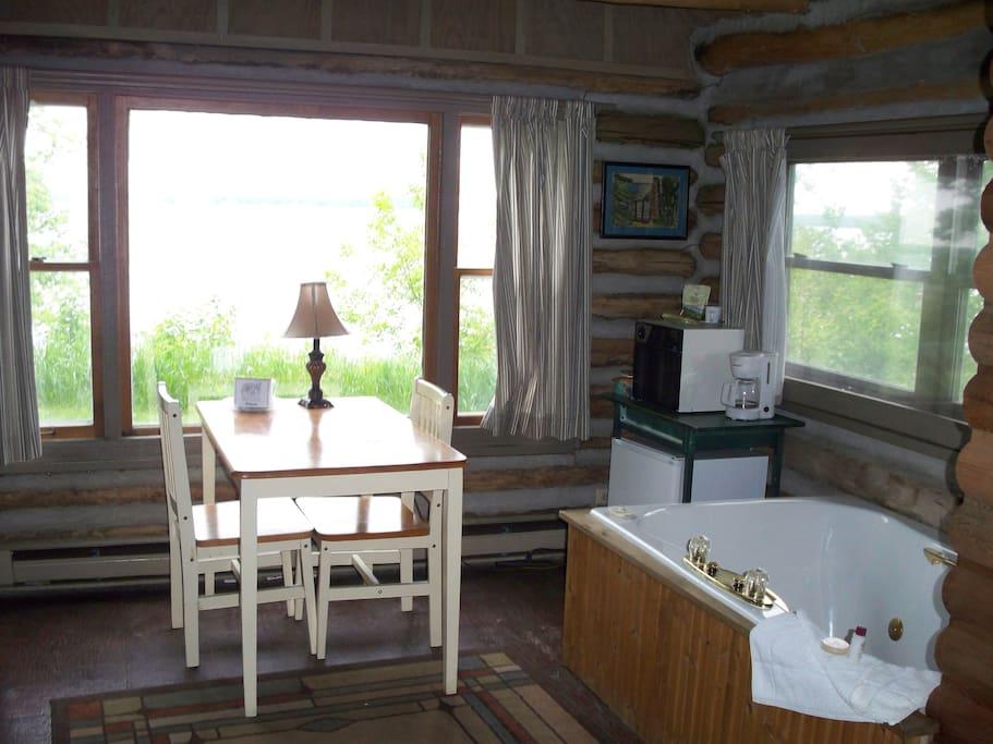 Main floor with window overlooking Green Lake