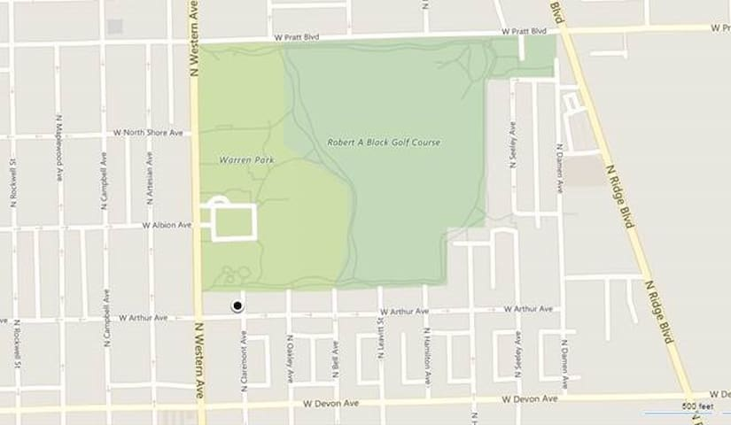 Google Map view of West Ridge Neighborhood, Warren Park, and Robert A. Black Golf Course