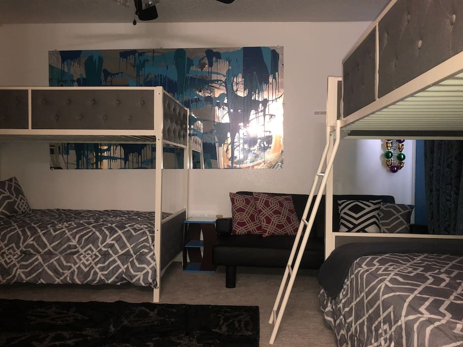Two twin bunk beds! One futon with memory form mattress! This room can hold up to 5 guest!!!!