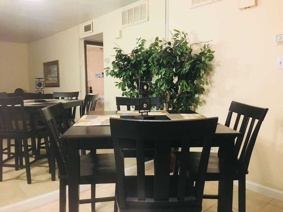The dining table seats 4 comfortably and doubles as a great works pace.