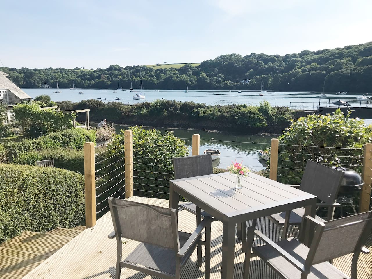 Stunning river views from decked terrace