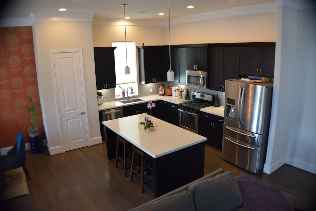 Enjoy breakfast in this gourmet chef's kitchen before heading out to enjoy a superbowl event.
