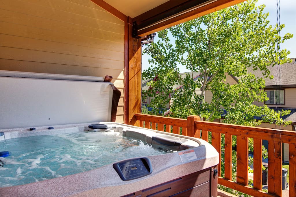 Slip into your private hot tub on the balcony.