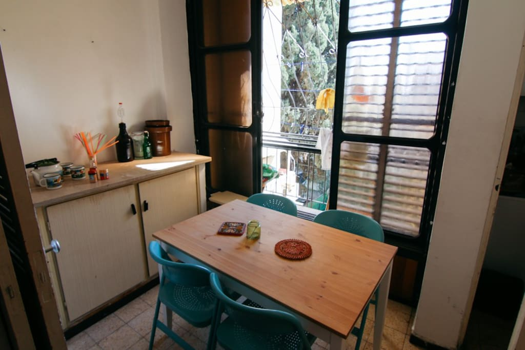 shared balcony with dining table