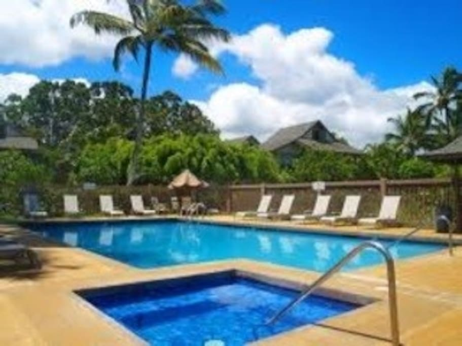Beautiful pool, jacuzzi and propane BBQ's with utensils.