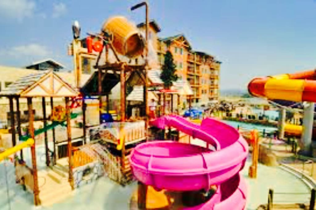 Part of the outdoor waterpark