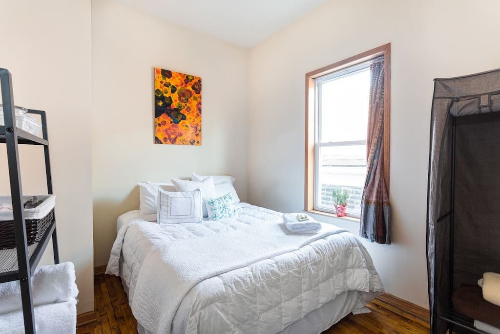 Hotel style bedding and towels. Your home away from home comes with desk, handmade bohemian blackout curtain, extra toiletries, fan, air conditioner, mirror, armoire, original artwork. Enjoy your home away from home!