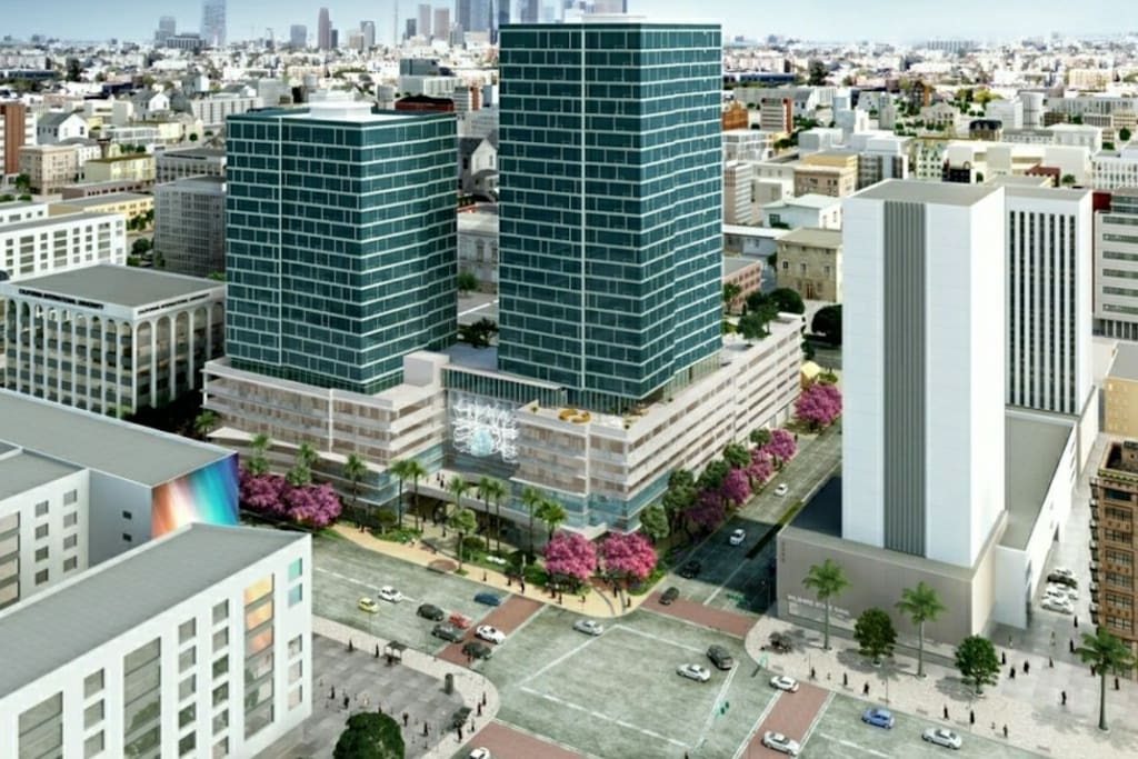 Air View of Vermont & Wilshire Community. Restaurants and Shops on the Street Level. Safe to walk to restaurants and shops