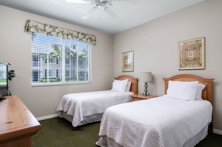 Guest bedroom with two twin beds and smart TV. Green carpet has been replaced.