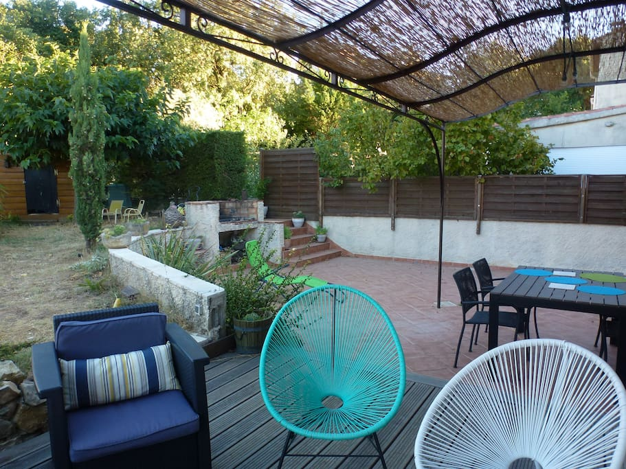 jardin + double terrasse