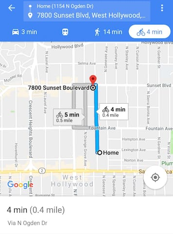 Unit is 5 mins walk to corner Santa Monica and Fairfax and 1/2 mile from Sunset Blvd.