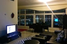 The living room - Surround sound system, TV, Xbox one, WiFi, Netflix, Apple TV.