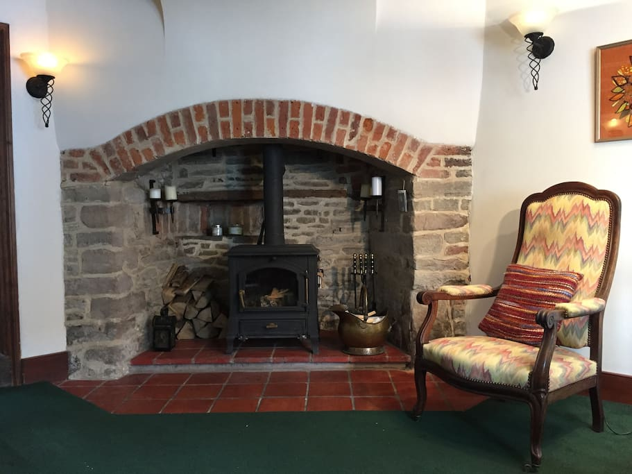 Inglenook fireplace, perfect for sitting round on a cold evening.
