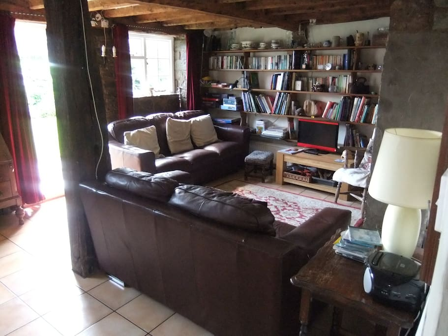 Large lounge with bookcase piled high with games and books