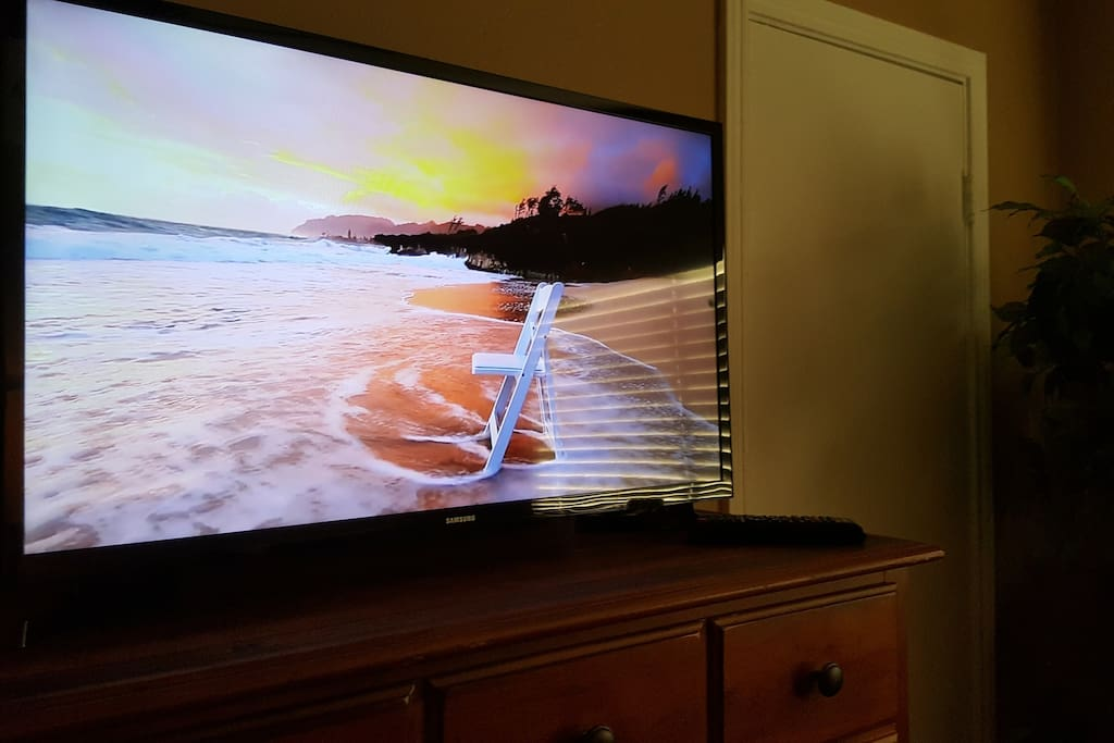 32 inch flat smart TV with Local Channels, Netflix and other popular streaming services are readily available.