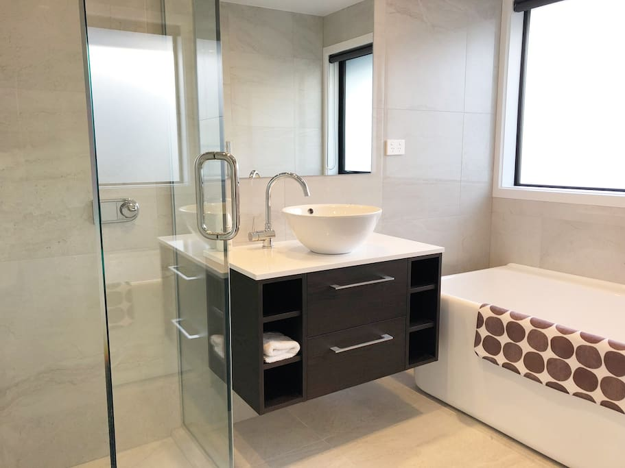 Your own bathroom and a separate toilet with hand basin. Bathroom has a shower and bath, heated towel rail, hairdryer, heater and fan.