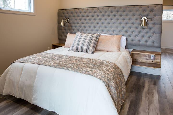 Chambre lumineuse avec lit queen