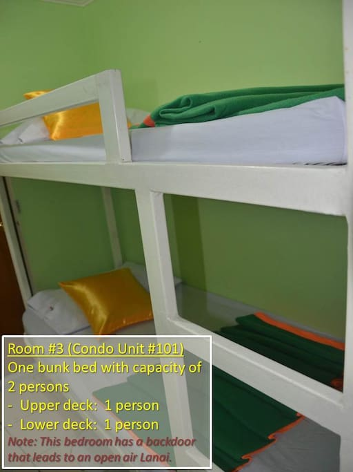 Bedroom #3 (Condo Unit #101) -------------------------------------- Bedroom #3, with one bunk bed, has a capacity of two persons: - Upper deck: Sleeps one person - Lower deck: Sleeps one person