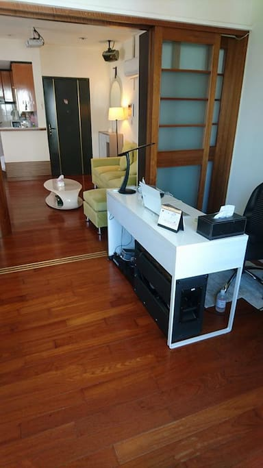 Very spacious office room with great view of the city, sliding doors can make varieties of room separation or all one open space like a studio Apartment.